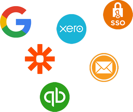 Google, SSO, Zapier, Xero, Mail and Quickbooks logo