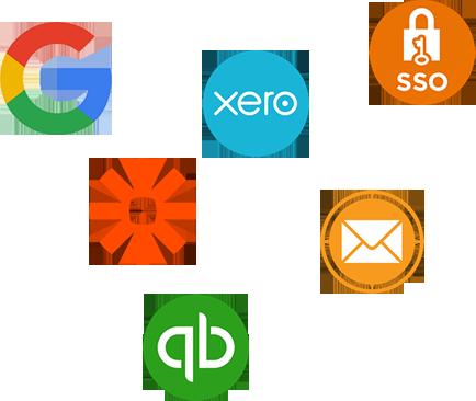 Google, SSO, Zapier, Xero, Mail and Quickbooks logo